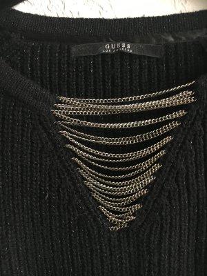 023 - Guess Pullover schwarz mit silber Fäden und Ketten Gr. S 36