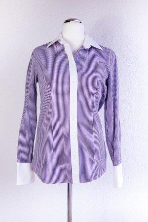 039 italy Bluse Lila Purple Weiß kariert, weiße Highlights. Chic. Officelook. Gr. M 38
