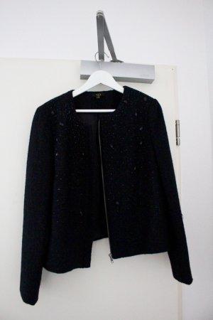 1.2.3. Kurze schwarze Jacke Blazer Kastenjacke Wolle