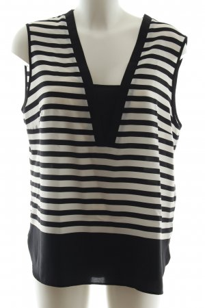 1.2.3 Paris Sleeveless Blouse black-white striped pattern business style