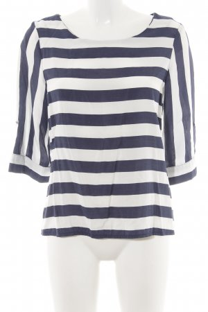 1.2.3 Paris Short Sleeved Blouse white-blue striped pattern simple style