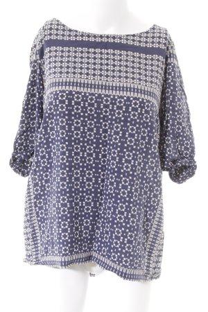 1.2.3 Paris Kurzarm-Bluse weiß-blau grafisches Muster Casual-Look