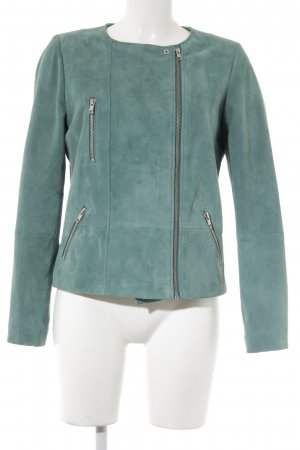 1.2.3 Paris Leather Jacket turquoise casual look