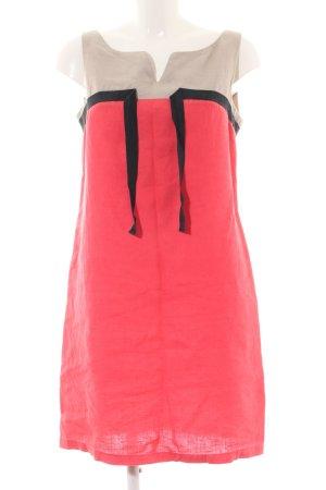 1.2.3 Paris Robe mi-longue rouge-blanc cassé motif graphique