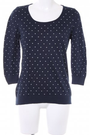 1.2.3 Paris Kraagloze sweater donkerblauw-wit gestippeld patroon