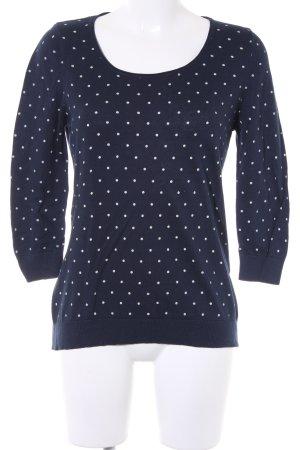 1.2.3 Paris Rundhalspullover dunkelblau-weiß Punktemuster Casual-Look