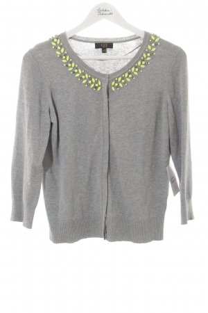 1-2-3 Paris Strick Cardigan grau-neongrün extravaganter Stil