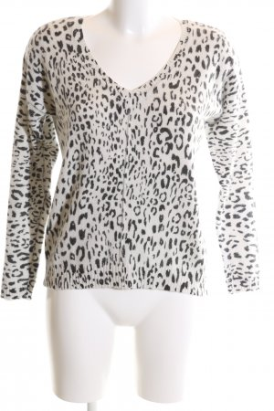 1.2.3 Paris V-Neck Sweater natural white-black allover print casual look