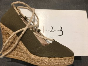 1-2-3 Paris Wedge Sandals khaki-cream