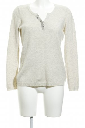 1.2.3 Paris Wollpullover hellbeige meliert Business-Look