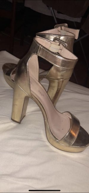 High-Heeled Sandals gold-colored