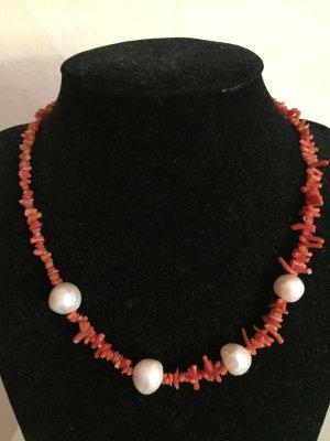 1. Korallen Kette / Collier mit Echten Perlen und Korallen