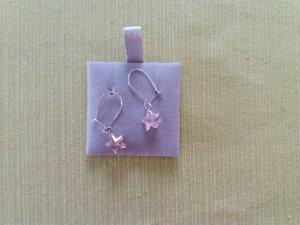 1 Paar silberne Ohrringe mit rosafarbenen Stern