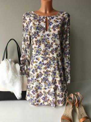 1.State Sommerkleid Tunika Kleid Gr. 36 Weis Blau geblümt