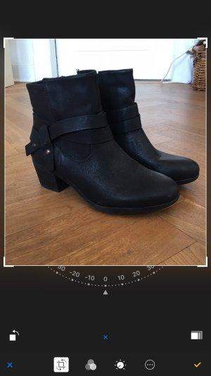 1 x getragene Stiefeletten, 38, schwarz