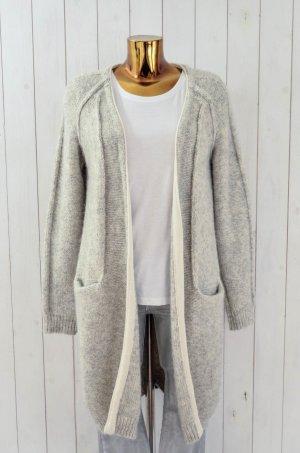 10 DAYS Damen Strickmantel Strickjacke Hellgrau Melange Baumwolle Alpaca Wolle S