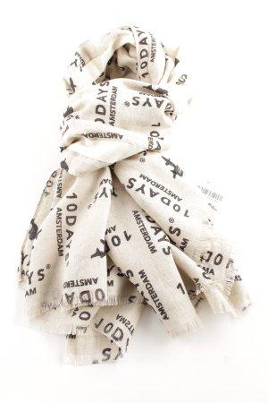 10 Days Sciarpa con frange bianco sporco-nero caratteri stampati stile casual