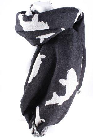 10 Days Sciarpa con frange nero-grigio chiaro Stampa a tema stile casual