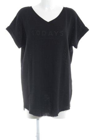 10 Days T-Shirt schwarz Schriftzug gedruckt Casual-Look