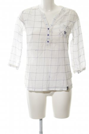 10 FEET Langarm-Bluse weiß-dunkelblau Karomuster Casual-Look