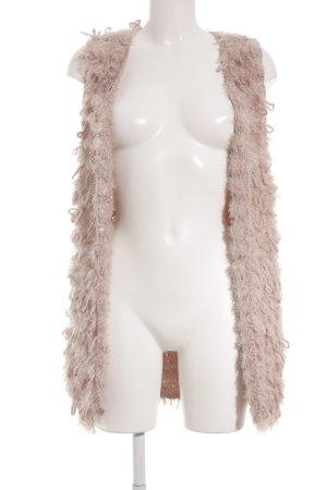 10 FEET Cardigan lungo smanicato rosa pallido-crema stile da moda di strada