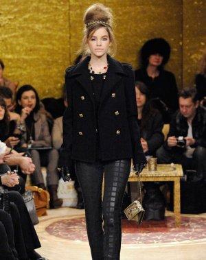 Chanel Pantalón de cuero negro Algodón