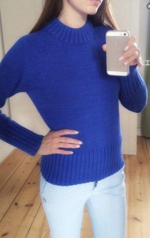 100% Baumwolle kobaltblauer Pullover Pulli Sweater Stehkragen S 36 NeU