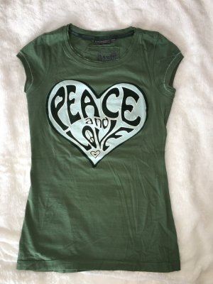 "100% Baumwolle Taille betont T-Shirt ""Peace & Love"""
