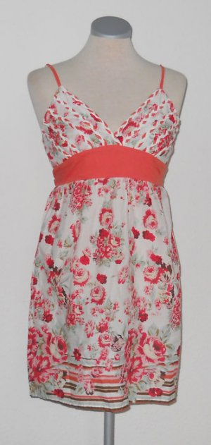 100% Cotton Babydoll Sommer Minikleid Kleid kurz Top + Blumen z Binden Gr 36 8 S