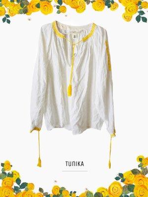 100% cotton Elegante luftige Tunika in weiß Zitronen gelb mit Stickerei / H&M / 46