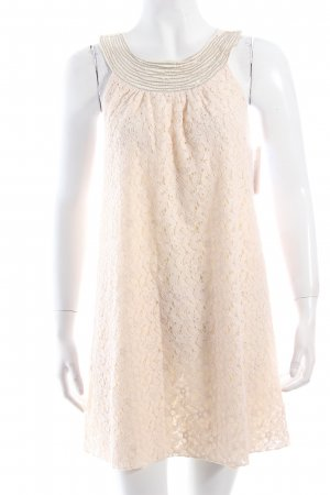 100% Fashion Spitzenkleid creme Spitzen-Optik