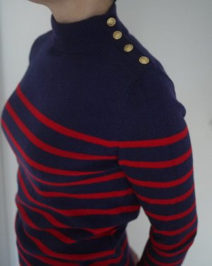 100% Kaschmir / Cashmere Pullover im Marine-Style, dunkelblau-rot, Lands' End