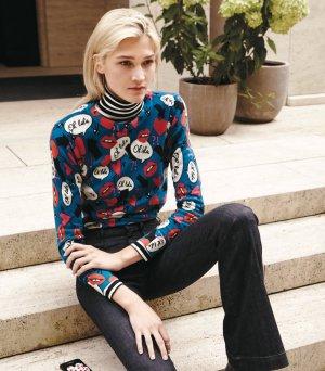 100% Kaschmir / Cashmere Pullover mit Print