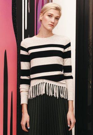 100% Kaschmir / Cashmere Pullover mit Streifen und Fransensaum