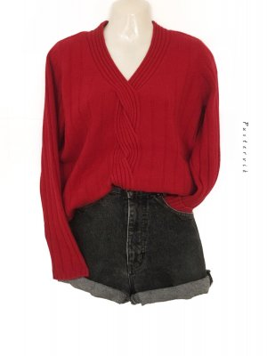 100% Kaschmir Cashmere Pullover Pulli Zopfmuster Strick Rot Blogger Musthave