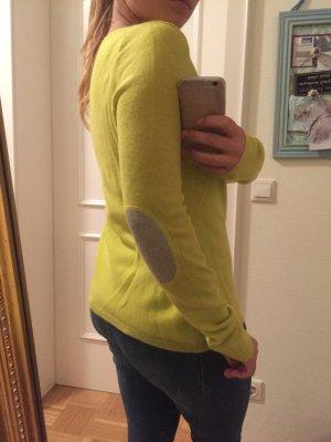 100% Kaschmir Pullover grün-gelb mit silbernen Ellenbogen
