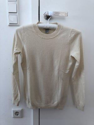 100% Kaschmir Pullover in creme weiß Größe S