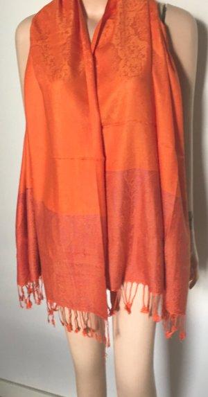 100% Kaschmir...Schal...Tuch...Orange neu