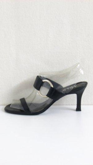 Apart Heel Pantolettes black-silver-colored leather