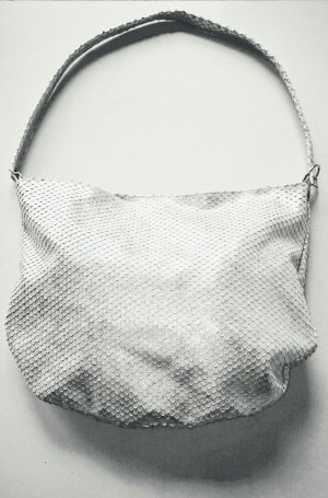 Pouch Bag silver-colored leather