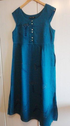 100% Leinen Kleid mit Stickerei, L,