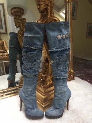 100% Orig. Gianmarco Lorenzi Denim Stiefel in Gr. 39