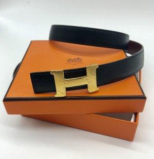 Hermès Cinturón de cuero burdeos-azul oscuro