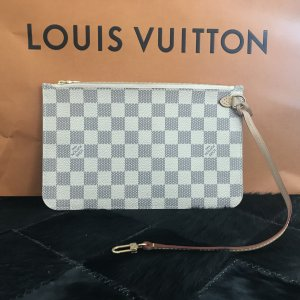 100% ORIG Louis Vuitton Damier Azur Pochette NEU