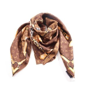 Louis Vuitton Foulard en soie brun-orange doré soie