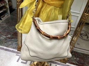 100% Originale Gucci Bamboo Leder Tasche, in Farbe Ecru/Creme