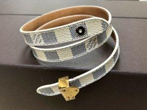 100% Originale Louis Vuitton Armband M6028F Damier Azur Leder, Gr. 17