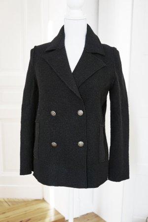 100% Schurwolle schwarz Jacke Mantel dick Herbst Winter warm Wolle Luxus XS 34