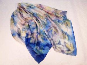 100 % Seide Halstuch Schal echt Ökoprint Einzelstück Unikat wunderschönes Muster blau bunt neu