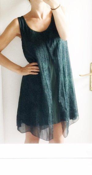 100% Seide Kleid Dunkelgrün Waldgrün Viskose XS 34 NEU